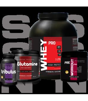 Whey Pro 2.25kg - Tribulus Terrestris - L-Glutamine 250g - Pre Workout Pro 300g