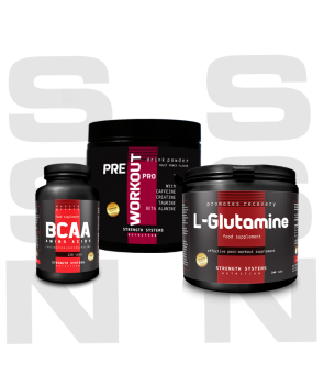 Pre Workout Pro 300gr - L-Glutamine 250gr. - BCAA Amino Acids 120tabs